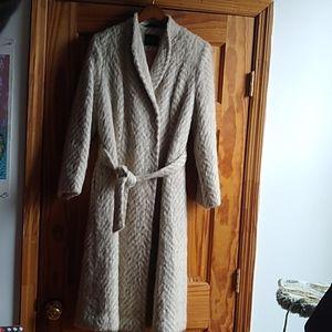 Vintage French Mohair Chevron Long Winter Coat